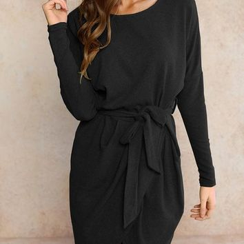 New Black Sashes Draped Irregular Slit High-Low Long Sleeve Office Worker Casual Elegant Midi Dress