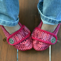 Crochet slippers, booties, shoes, socks with a button strap, colorful variegated tie dye spring collection in pink tones