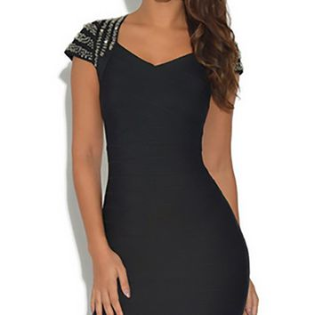 Feel It Now Diamond Stud Short Sleeve V Neck Bodycon Bandage Midi Dress - 3 Colors Available