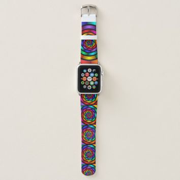 Round and Psychedelic Colorful Modern Fractal Art Apple Watch Band