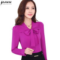 Fashion Long-sleeve shirt female business formal elegant bow white purple blouse slim chiffon solid color Plus size casual tops