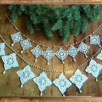 Handmade snowflake christmas garlands, two different