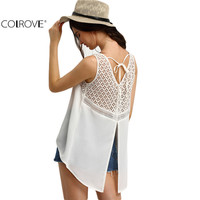 Ladies Shirt New Arrival Cute 2016 Summer Style Women Top Sexy Hollow White Crochet Panel Dip Hem Split Back Blouse