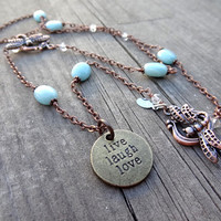 2-in-1 Live Laugh Love Bronze Dragonfly Copper Bracelet  Blue Green Amazonite Crystal Bead handmade Necklace Jewelry