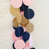 Sewn Paper Garland, Pink, Navy Blue, and Gold, Paper Bunting, Wedding Decoration, Baby Shower, Bridal Shower, Birthday, Gender Reveal Party
