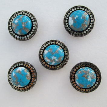 5 Teal Brass Button Covers Blue Brown Cabs w Gold Flakes