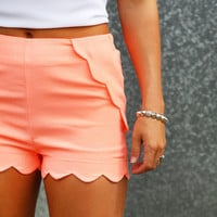 Scalloped In Neon Pink Shorties