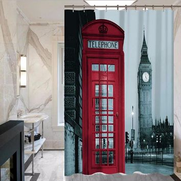 London Themed Polyester Waterproof Shower Curtain MYSC0028