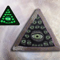 EyeGloArts  Glow in the Dark All Seeing Eye Illuminati Pyramid Handmade Millefiore Blacklight Art #P192014