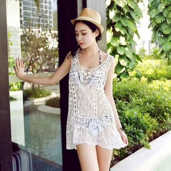 PEAPGC3 New Women Beach Cover Pus Hollow Out Pareo See through Sheer Sexy Women Swimwear dress Crochet Swimsuit Swimming Pools Tunic