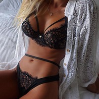 Sexy Lingerie Lace Babydoll Pajamas