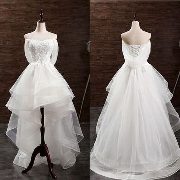 Inexpensive Sweetheart A Line Appliquesand Tulle Short Beach Wedding Dresses for Guests
