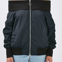 Off-The-Shoulder Bomber Jacket by Boutique - Topshop