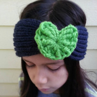 "Hand Knit Seattle Seahawks Inspired ""I Heart My Team"" Headband for Women and Children (10+)"
