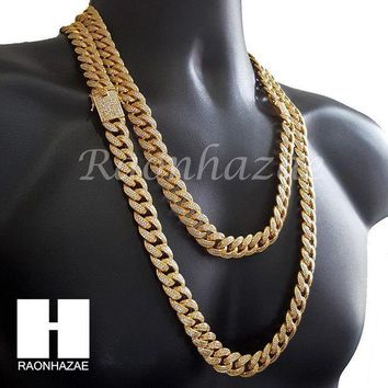 Iced Out 18k Gold Lab Diamond Cuban Link Chain 26mm Bling 24' 30' Necklace L01