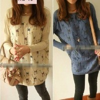 Cute Cartoon Giraffe Bats Sleeve Loose Long-sleeved T-shirt Round Collar 3 Color