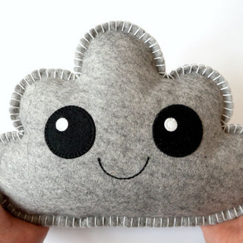 Grey Cloud, Cloud Pillow, Soft Toy,Kawaii Cloud, Cloud Softie, Baby Gift, New Baby, Shower Gift, Nursery decor