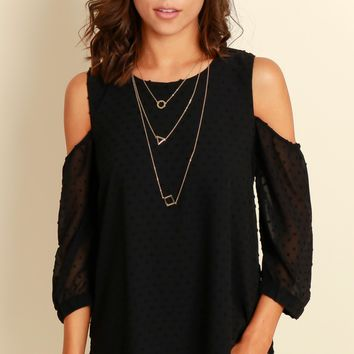 Shoulder Shrug Blouse Black