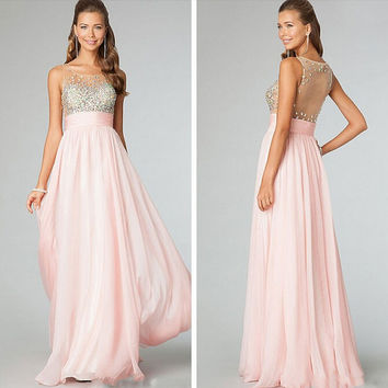 Fashion long chiffon prom dress bead crystal evening dress blush pink chiffon beach party dress bridesmaid dress Pageant dress