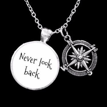 Compass Never Look Back Direction Journey Nautical Friend Sister Gift Necklace