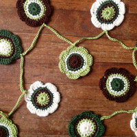 Hand Crochet Garland Small Doily Decoration,12 Flower Doily Bunting in Green, Brown and Cream