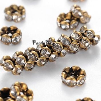 brass rhinestone spacer beads, grade aaa, wavy Lace, nickel free, antique bronze metal color, rondelle, crystal, 5x2.5mm, hole: