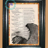 Bald Eagle Art - - Vintage Dictionary Book Page Art-Upcycled Page Art,Wall Art,Collage Art, American Bird, Eagle Print