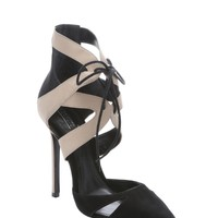 Black Oyster Nubuck Suede Charmosa Lace-Up Pumps