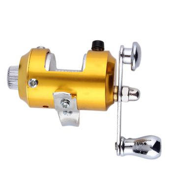 Mini Pocket Pen Fish Drum High Hard Alloy Outdoor Fishing Reel Drum Wheel Speed Ratio 2.1:1 Golden Dia 2.7cm free shipping