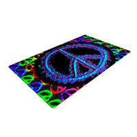 "Anne LaBrie ""Heavenly Peace"" Blue Digital Woven Area Rug"