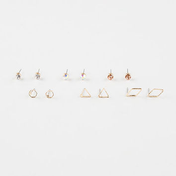 Full Tilt 6 Pairs Rhinestone/Geometric Cut Out Stud Earrings Gold One Size For Women 27294362101