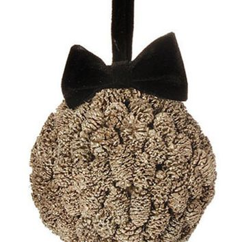 "5"" Gold Metallic Pine Cone Ball with Black Bow Christmas Ornament"