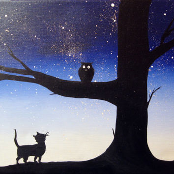 "canvas art Original Tree Landscape Giclee Art Print ""owl & pussycat"" silhouette art owl decor contemporary art starry night a3 a4 print"