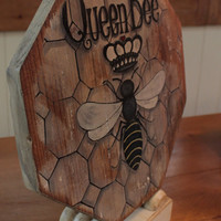 OOAK RECLAIMED Primitive PINE Queen Bee Wood Art Piece