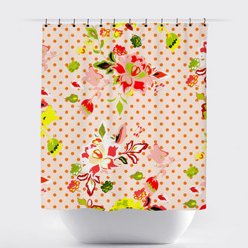 Orange Polka Dot Shabby Chic Floral Shower Curtain