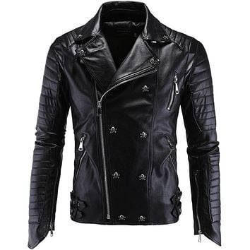 Michael Jackson Skulls Leather Biker Jackets Men Coats Slim Motorcycle Bomber Jacket Mens Leather Jackets and Coats