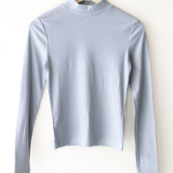 Ribbed Mock Neck Top - Dusty Blue
