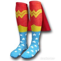 New Wonder Woman Socks Knee High With CAPE Attached LICENSED PRODUCT DC Comics