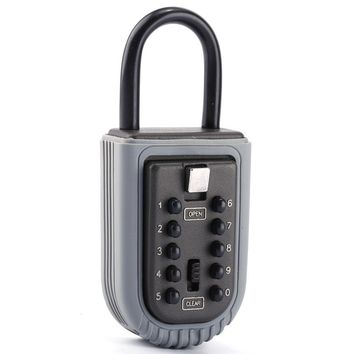 Portable Zinc Padlock Hide Keys Hang Door 10 Digits Combination Lock Key Safe Box Lock Security Safe Storage Box