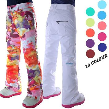 Womens white ski pants female black snowboarding riding snow pants outdoor colorful sports trousers waterproof breathable warm