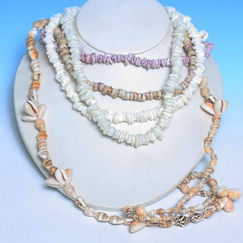 Lot of 5 Shell Necklaces Puka Shell Cowrie Conch Shell Repair Wear Vintage