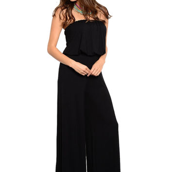 Strapless Dressy Wide Leg Jumpsuit