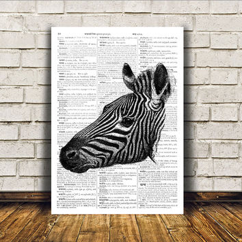 Dictionary print Zebra poster Wall decor Animal art RTA414