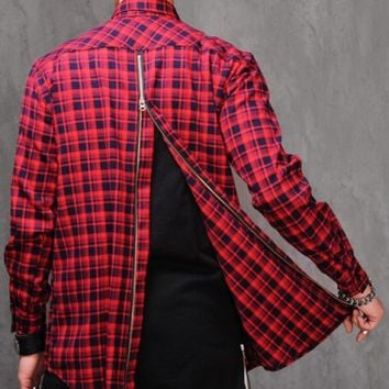 Back-Zip Slim Fit Check Flannel shirt