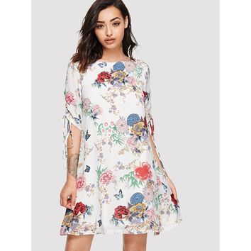 Shirred Drawstring Sleeve Botanical Dress
