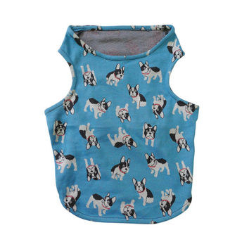 Sky Blue French Bull Dog prints clothing for French bulldog or Pug pet wear