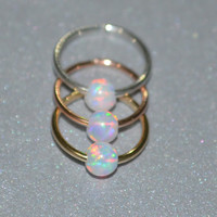 Extra Small Opal 14k Gold Filled Nose Ring, 20g Hoop Earring, helix/cartilage/rook/daith tragus piercing 20 Gauge handcrafted/handmade