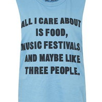 All I Care About Tank Top by Jac Vanek - Blue