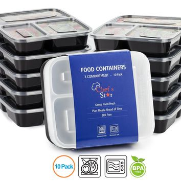 Chef's Star 3 Compartment Reusable Food Storage Containers with Lids - Microwave Safe - Dishwasher Safe - Bento Lunch Box - Stackable - 10 Pack