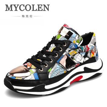 MYCOLEN Luxury Brand Men Shoes Genuine Leather Casual Shoes Mens Spring Autumn Lace Up Men Tide Fashion Sneakers Zapatillas
